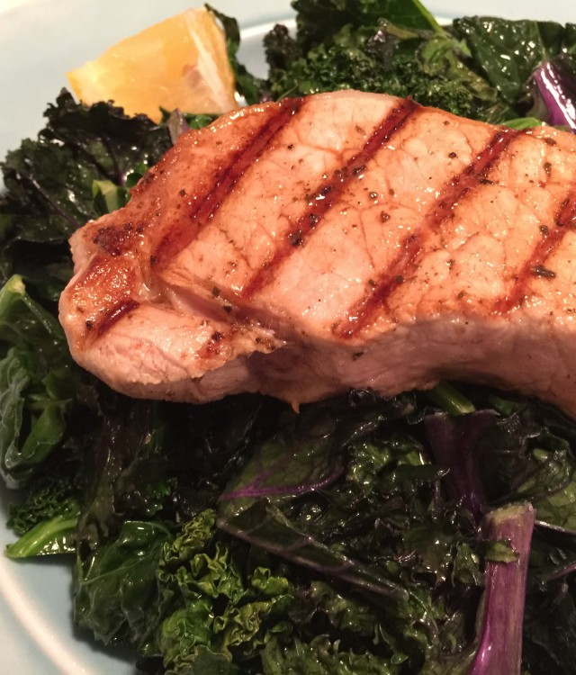 Sauted Kale with Greek Style Pork Chops